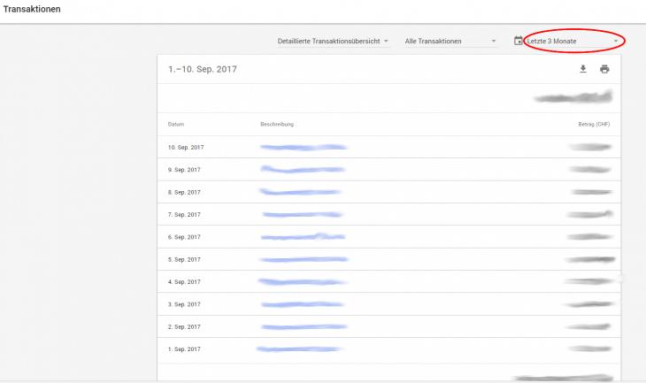 Adwords letzten 3 Monate