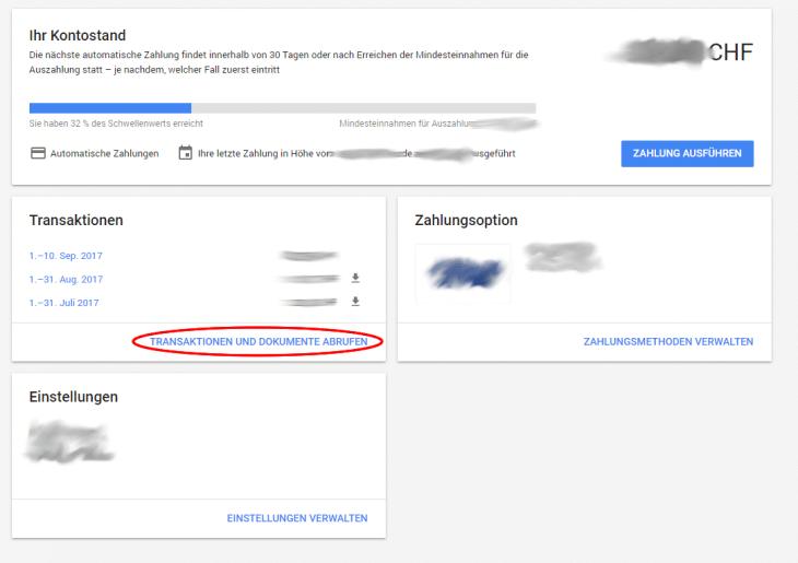 Ätlere Google Adwords Rechnung abrufen