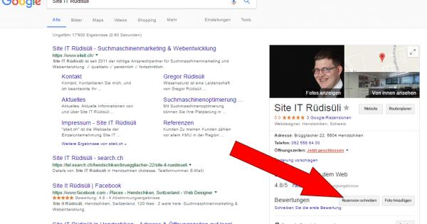 Bewertung auf Google abgeben