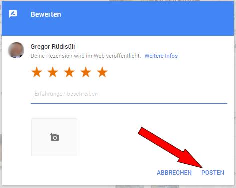 Bewertung bei Google veröffentlichen