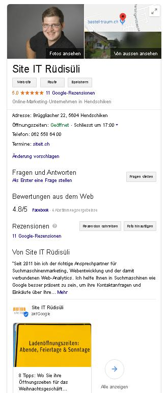Google My Business auf der Suchergebniss-Seite