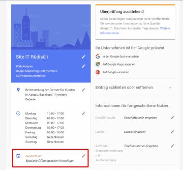 Google Spezielle Öffnungszeiten Hinzufügen
