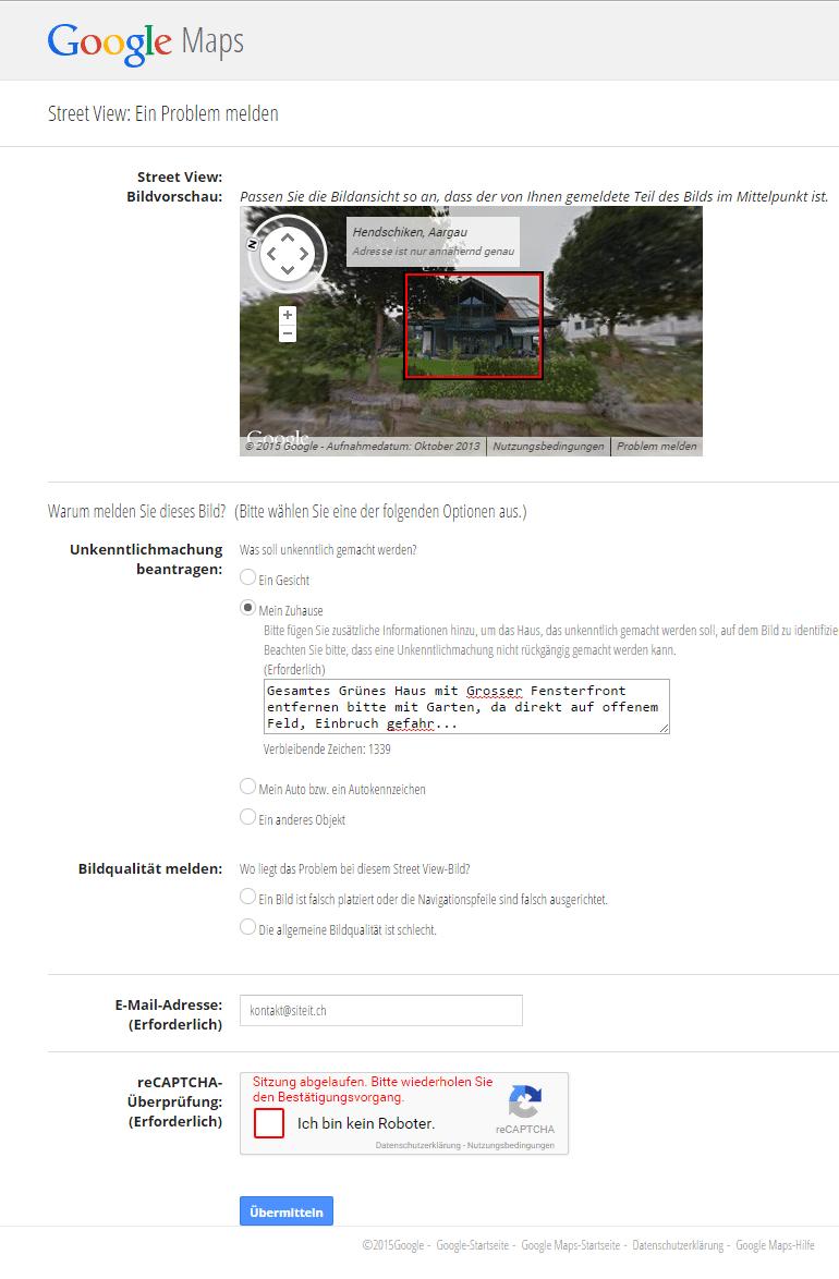 Haus aus Street View entfernen