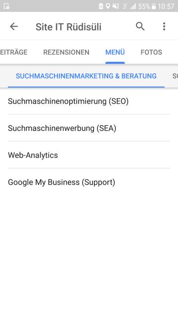 Leistungen in Google My Business auf dem Smartphone sichtbar