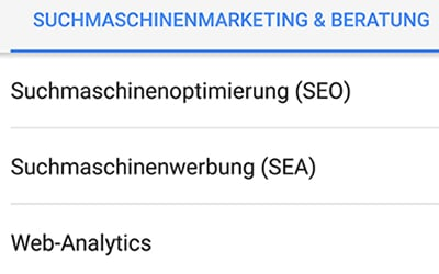 Leistungen & Menükarte in Google My Business