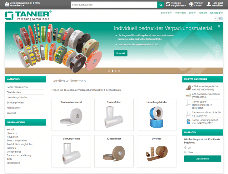 Onlineshop - Tanner & Co. AG