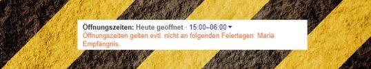 Google Warnmeldung bei Öffnungszeiten