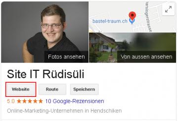 Webseite-Button Google My Business Eintrag