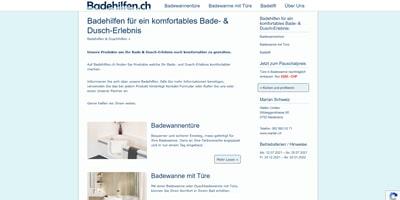Webseite erstellt für den Verkauf von Badewannentüren