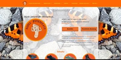 Webseite von Barfussschuhe.ch in Winterthur